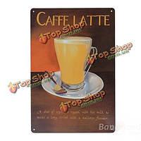Caffe latte олова знак Ретро металлический налет плакат бар паб дома стены декор