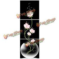 40x40см сочетание холст печати живопись 3шт цветы лотоса напечатаны на холсте домой стене лестничной площадки декора