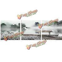 Краны лодки озеро китайская живопись сочетание картины напечатаны на холсте бескаркасных рисунок декора стены дома