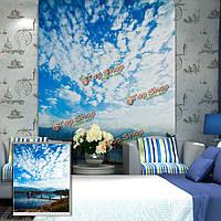 Вол голубое небо рольставни печати картина рольставни фоне стены окна декор занавес