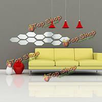 12шт 3D DIY шестиугольное зеркало акриловый стикер стены искусства домашнего интерьера декор наклейка