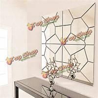 7шт 2 цвета геометрия зеркала стикер стены муар росписи пропуск искусство домашнего декора