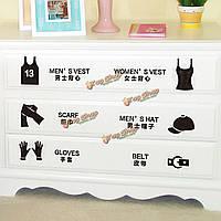 Шкаф кавычки наклейки шкафа съемная деколи искусства стены шкаф рода флаг стикер домашнего декора