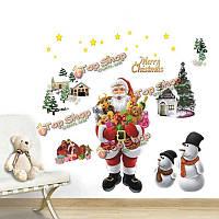 Веселые рождественские наклейки DIY декор стен Рождественские окно дерево с новым годом