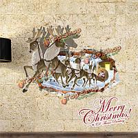 3D рождественский северный олень Санта Клаус стенная этикетка переводных картинок этикетки Пага домашний стенной подарок обстановки