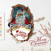 3D с Рождеством Христовым Санта Клаус стенная этикетка переводных картинок отверстия этикетки Пага домашний стенной подарок обстановки