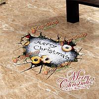3D с Рождеством Христовым стенная этикетка переводных картинок этикетки Пага домашний рождественский подарок обстановки отверстия пола