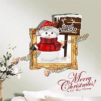 3D снеговик с Рождеством Христовым стенная этикетка переводных картинок этикетки Пага домашний стенной подарок обстановки