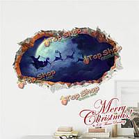 3D Санта Клаус приезжает стенная этикетка переводных картинок этикетки Пага домашний стенной рождественский подарок обстановки отверсти