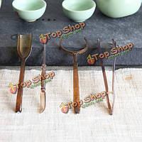 4шт чайный набор ложка зажим иглы блюдце Kongfu чай инструмент