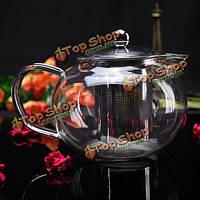 Высокая 800мл боросиликатное стекло фильтрование чайник нержавеющий фильтр чая