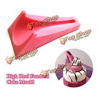 3D пирог помадки высокого каблука силикона формирует художественное оформление пирога формы обуви леди