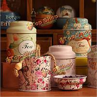 Маленький цветок пастырский стиль мини чай & кофе жестяная коробка для хранения