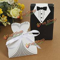 100шт свадебное платье и смокинг жениха и невесту конфеты коробки