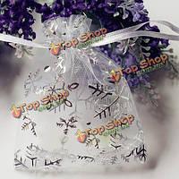50шт Рождество снежинка органзы мешочек пользу свадьбы подарок шнурок конфеты мешок