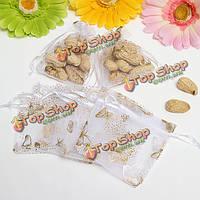 100шт белый подарок органзы pouchs мешочек подарка свадебной вечеринки мешка драгоценностей леденца бабочки