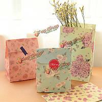 3шт стиле цветы бумажные подарочные пакеты свадьбы обернуть сумки наклейки