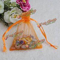 25шт оранжевой органзы подарок мешок холст мешок упаковки ювелирных изделий свадьба подарок мешок конфет