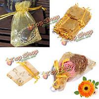 100шт золотой подарок органзы pouchs мешочек подарка свадебной вечеринки мешка драгоценностей леденца бабочки