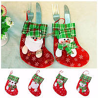 Рождество столовые приборы из серебра покрытие держатель ужин посуда