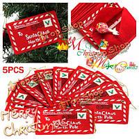 5шт Рождество конверт Рождественские открытки конфеты мешок Рождественская елка орнамент Санта конверт