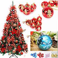 6шт Рождество Рождество дерево висит безделушка шаблон мяч снежинка Новогоднее украшение