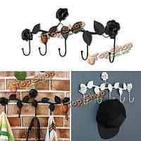 Творческий старинные розы цветок крюк вешалка для одежды халат брелок шляпу вешалка стены украшения дома