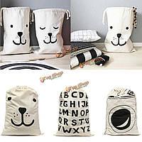 Холст милый медведь шрифтом игрушка организатор одежда раза стиральная машина хранения картины прачечная мешок