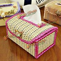 Коробки бамбука ткани ручной работы для лица салфетки крышки держатель автомобиля гостиной Toliet бумага кейс