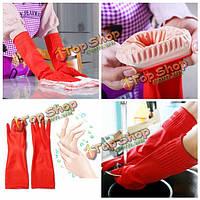 Водонепроницаемый удлините латексные для мытья посуды уборки перчатки противоскользящие 38см