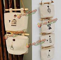 Стены пастырской стиль сумки гардероб ткань прикроватные ностальгия хлопка висит хранения