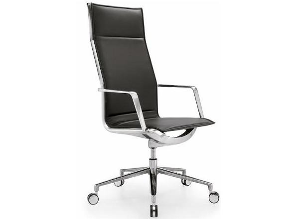 Кресло офисное руководителя высокое кожа газлифт Алюминия