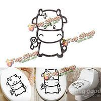 ПВХ виниловая наклейка милый теленок корова Туалет Ванная комната декор стены
