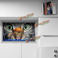 Паг 3d Антипробуксовочная кот и рыба рисунок водонепроницаемый пол в ванной комнате душевая кабина наклейка стирать декор комнаты