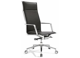Офисное кресло руководителя высокое кожа механизм Алюминия
