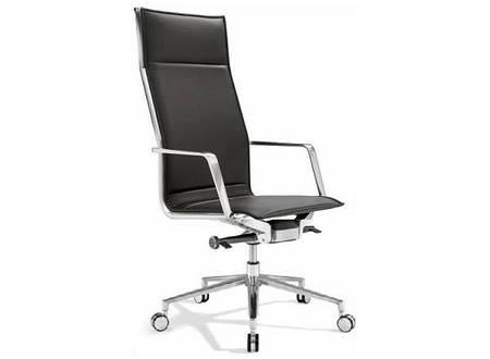 Кресло для руководителя высокое кожа механизм Алюминия