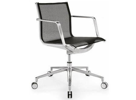 Кресло офисное Алюминия низкий, сетка (газлифт)