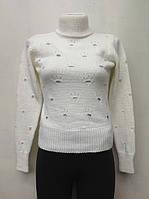 Вязаный нарядный белый свитер на девочек Котёночек
