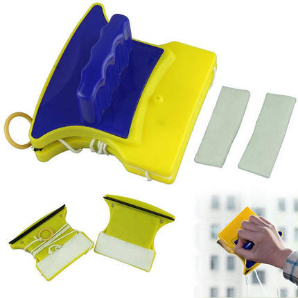 Магнитная двусторонняя щетка для мытья стекол Double Sided Glass Cleaner, фото 2
