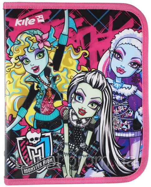 """Папка пластиковая для тетрадей """"Monster High"""", (на молнии)"""