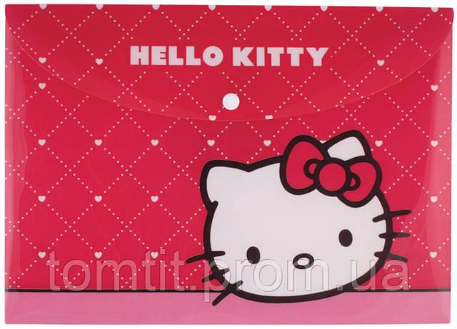 "Папка пластиковая ""Hello Kitty"", (на кнопке, формат А-4)"