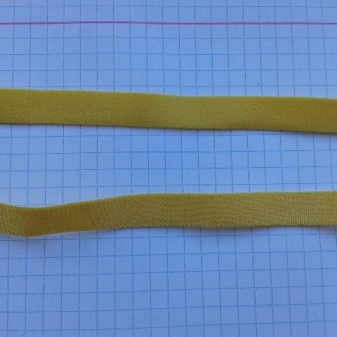 Резинка для шлеек бюстгалтера,резинка двухсторонняя ,швейная фурнитура для белья .цвет - желтый