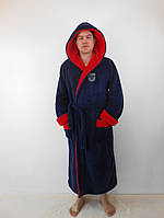 Мужской махровый халат с двойным капюшоном т.синий+красн. пушистая махра