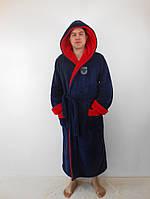 Мужской махровый халат баталл с двойным капюшоном т.синий+красн. пушистая махра