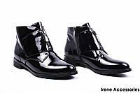 Ботинки женские лаковые Deenoor (ботильоны низкие комфортные,байка с 35р)