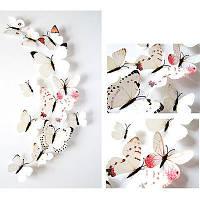Бабочки 3D  бело-розовые , набор 12 штук