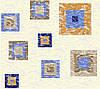 Бязь с синими и бежевыми квадратами на молочном фоне