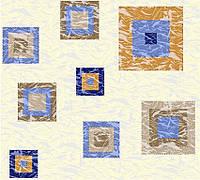 Бязь с синими и бежевыми квадратами на молочном фоне, фото 1