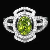 Серебряное Кольцо с Натуральным Перидотом и Cz
