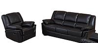 """Раскладной диван в комплекте с креслом-реклайнером """"ALABAMA"""", черный"""